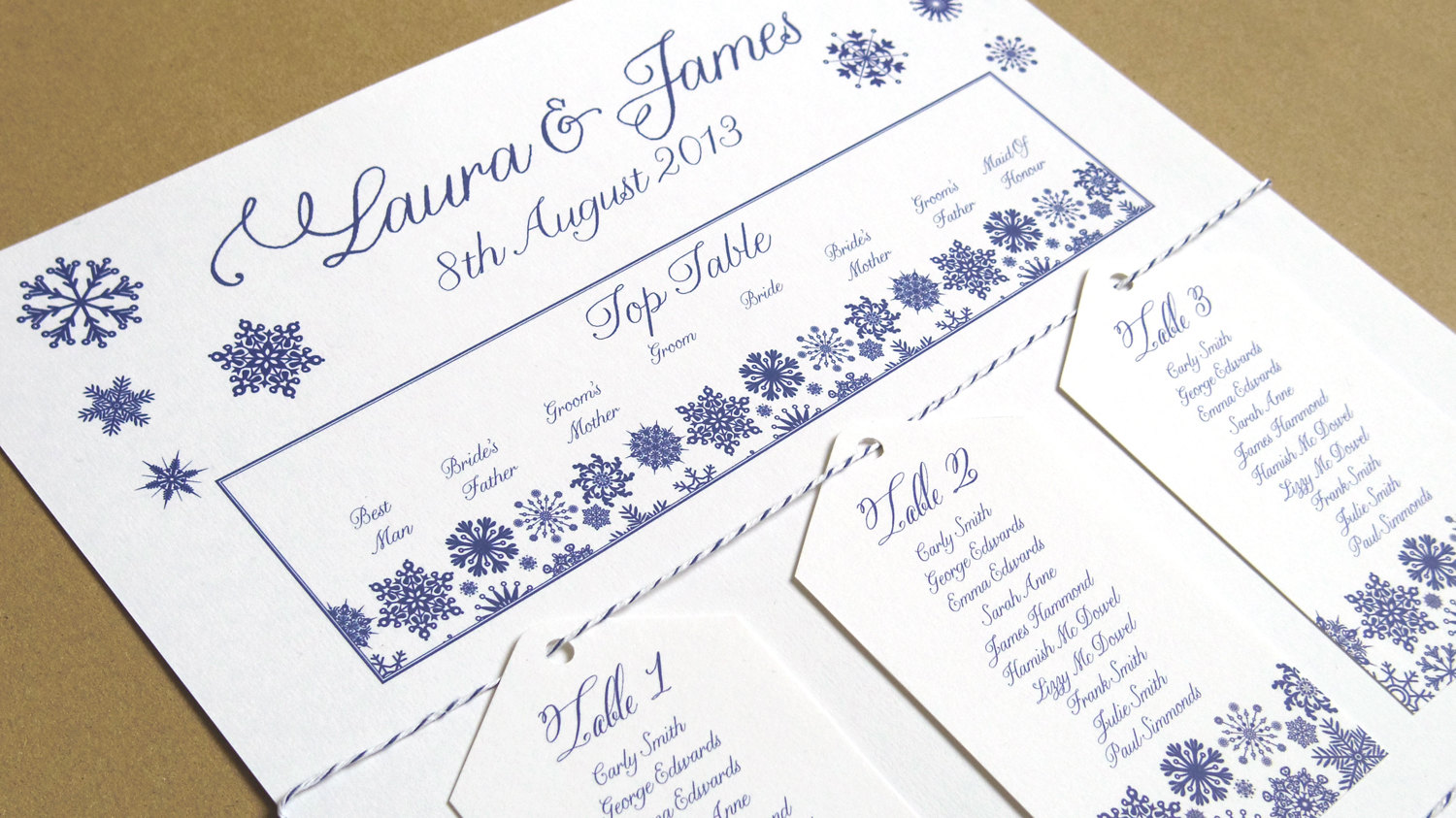 i m dreaming of a white wedding with every snowflake name card i write