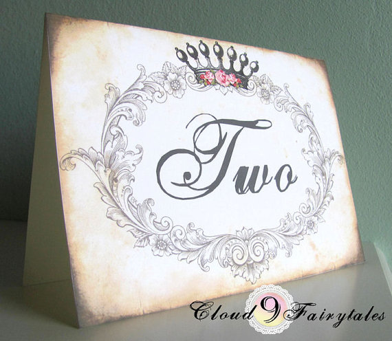 Fairytale crown table number - etsy.com