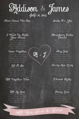 Chalkboard seating plan - Beatles Hits. etsy.com