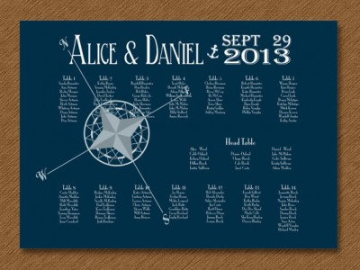 Nautical navy seating chart - etsy.com