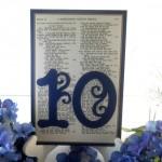 Elegant Shakespeare inspired wedding table number