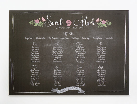 Chalkboard & Flowers seating plan
