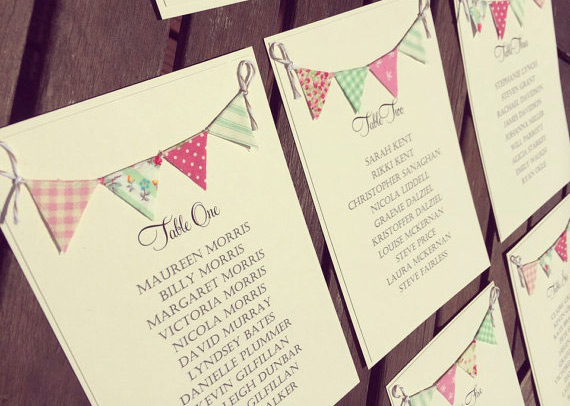 Bunting table plan cards - etsy.com