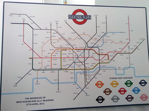 London Underground wedding seating plan