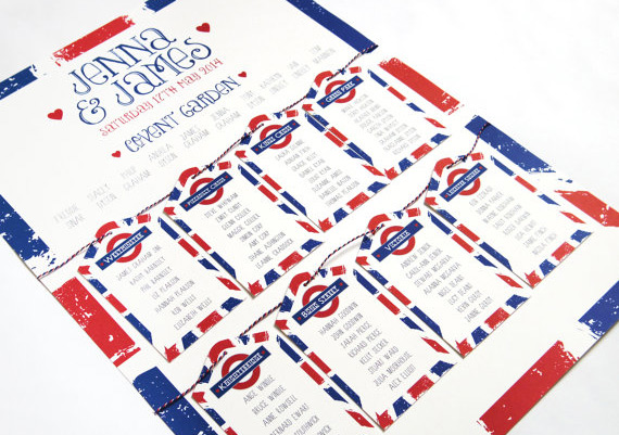 London Underground themed table plan