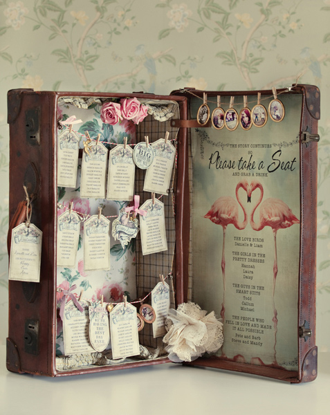 Vintage suitcase wedding table plan - Dottie Creations