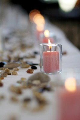 Votive candles on wedding table