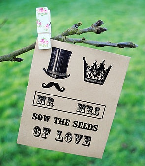 Steampunk inspired seed packet wedding favour