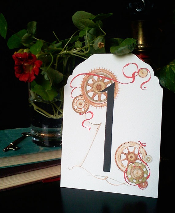 Steampunk wedding table number - etsy.com