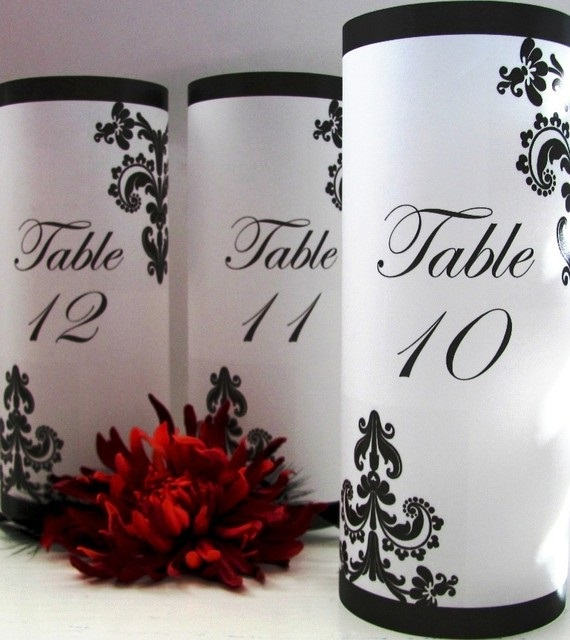Gothic style table number luminaries