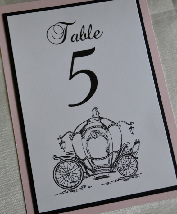 Cinderella carriage wedding table number