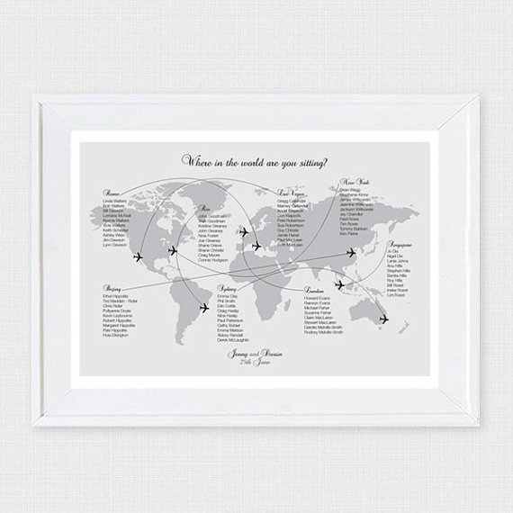 Printable world map wedding seating chart - etsy.com