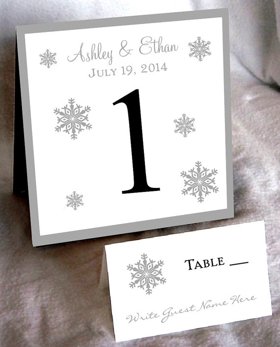 Snowflake table numbers and place cards
