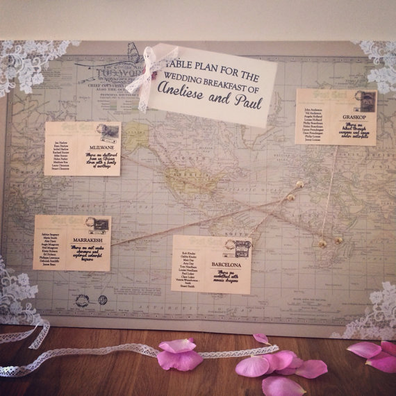 Vintage world map wedding table plan - etsy.com