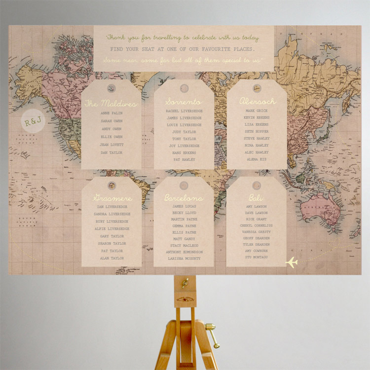 Vintage world map seating plan