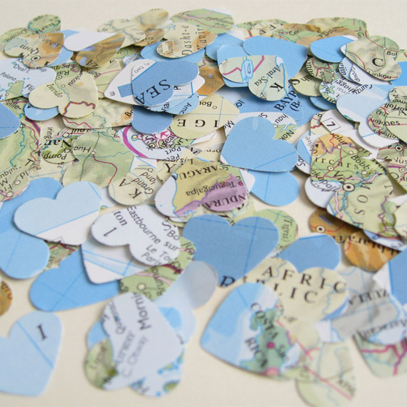 World map table confetti