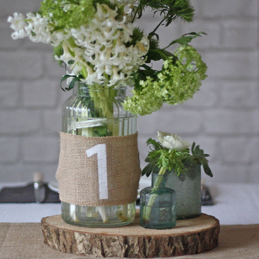 Hessian Wedding Table Number - notonthehighstreet.com