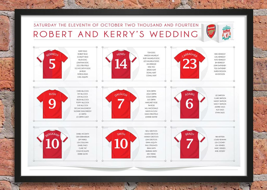 Football themed wedding table plans bespoke football club themed table plan junglespirit