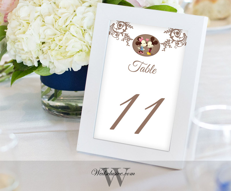 Disney Wedding Table Number Cards