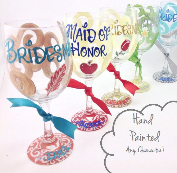 Hand painted Disney wedding glasses