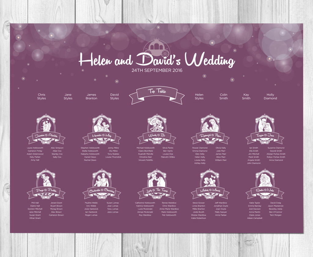 Disney inspired enchanted fairytale table plan