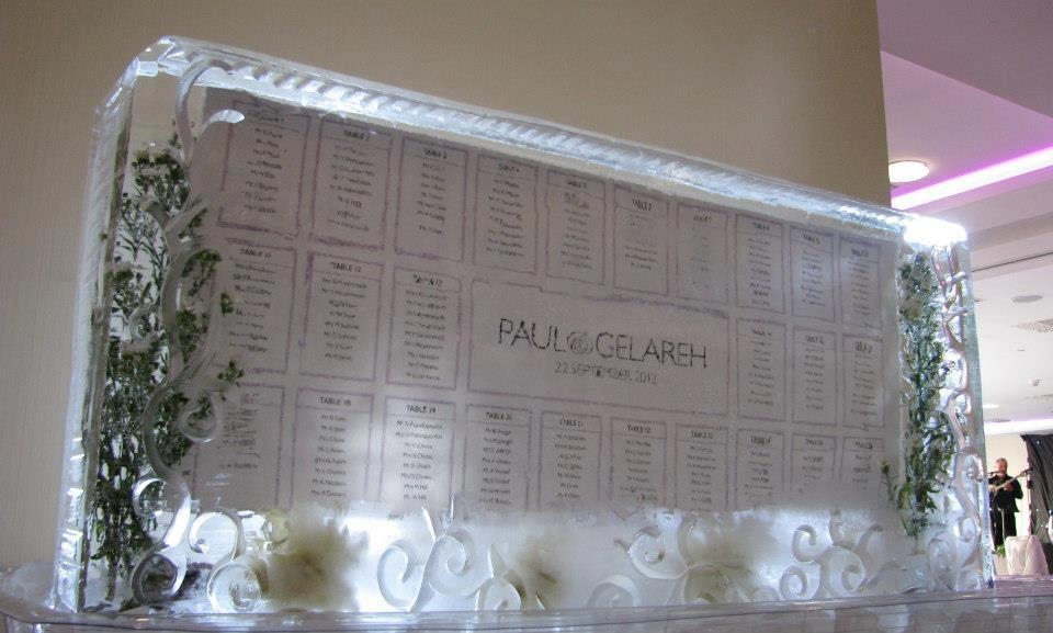 Ice sculpture wedding seating plan - icestyling.co.uk