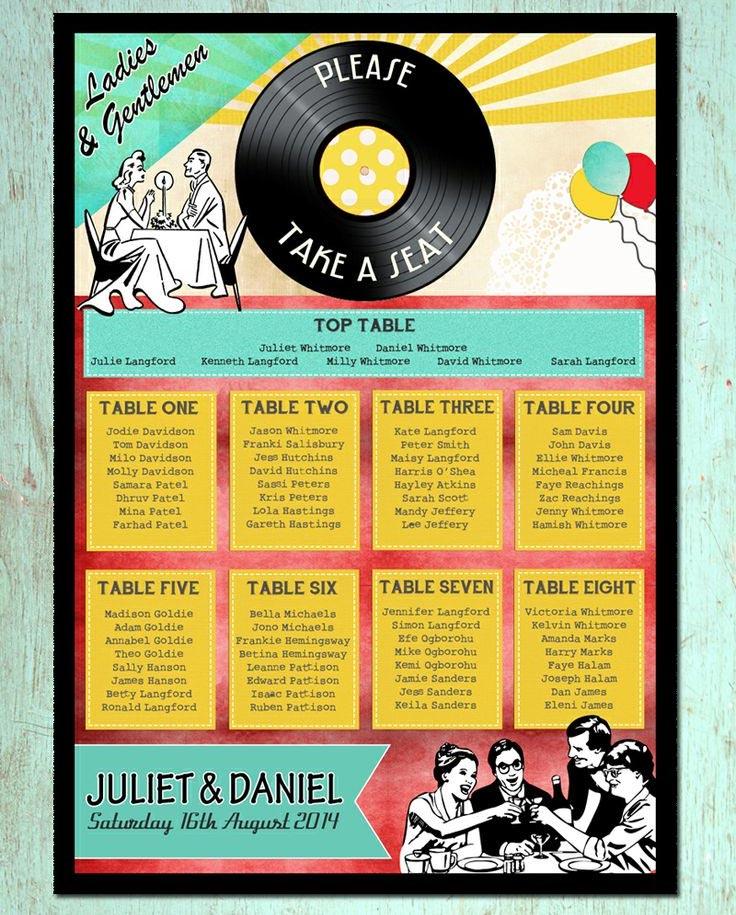 Retro 1950s wedding table plan – Hip Hip Hooray