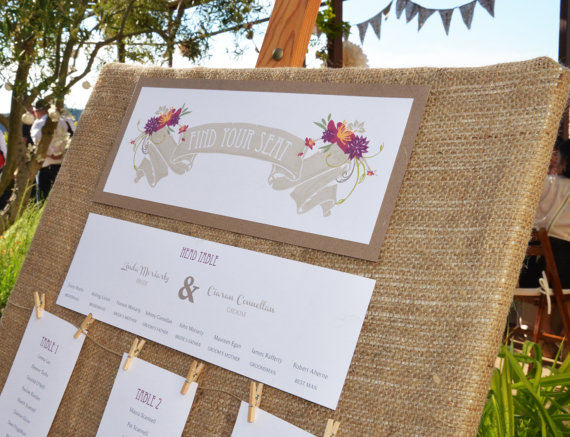 Rustic woodland floral table plan - etsy.com