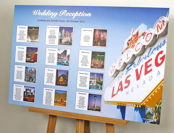 Las Vegas Table Plan With Tables Named After Hotels