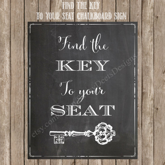 'Find the key to your seat' sign