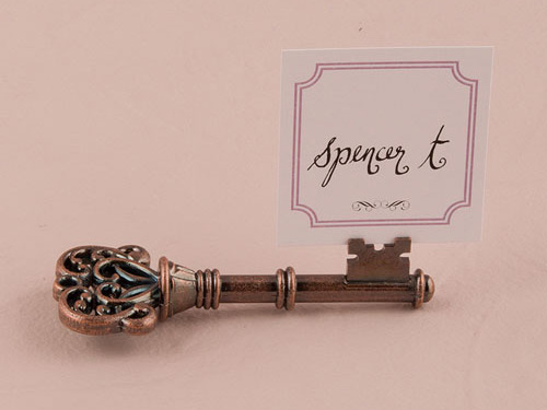 Vintage key place card holder