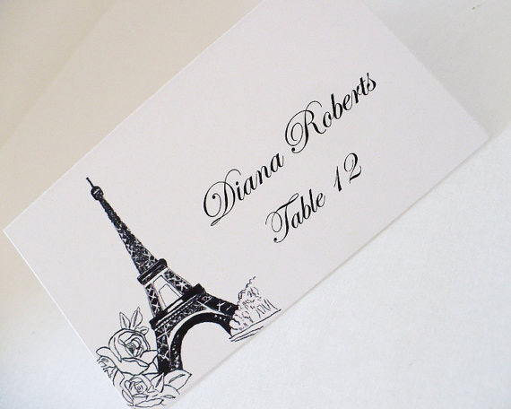 Paris themed escort cards