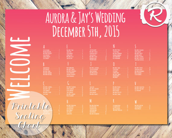 Printable ombre effect seating chart