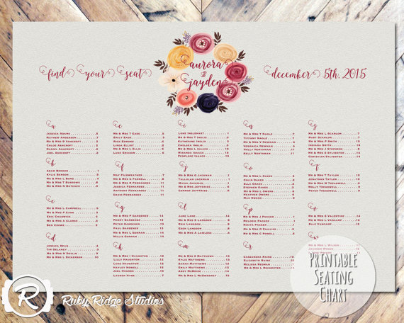 Marsala watercolour seating chart