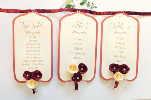 Marsala seating plan cards