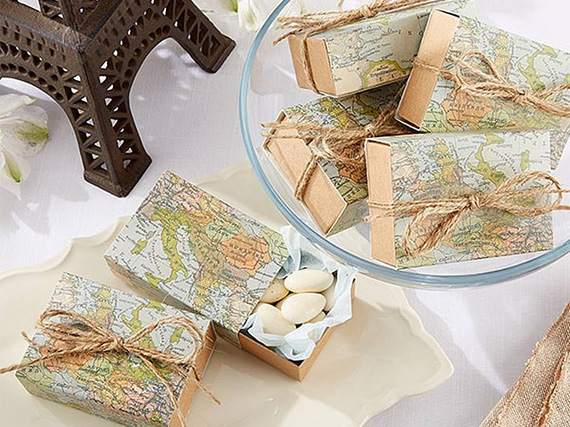 World map themed favour boxes