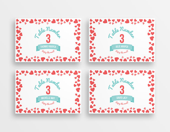 Coral and aqua place cards