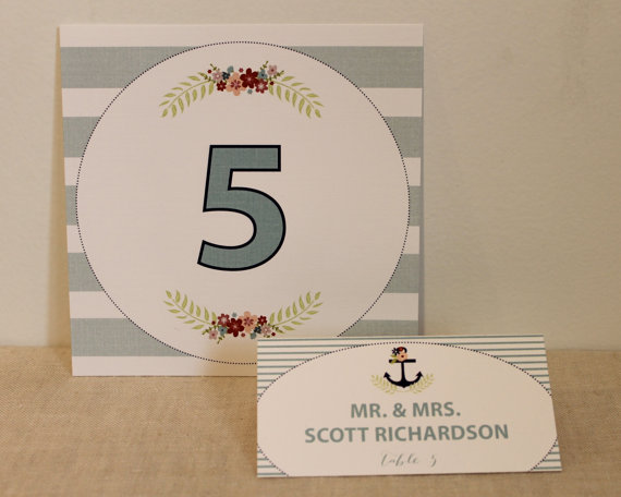 Nautical themed dusty blue table number