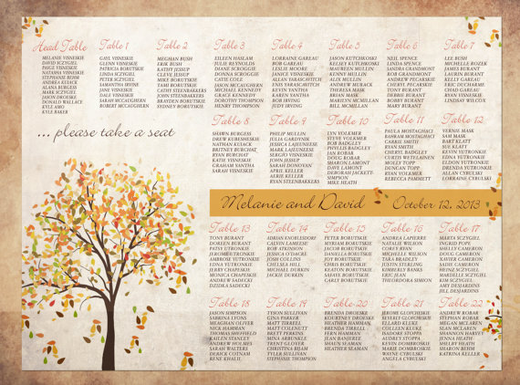 Autumnal orange seating plan