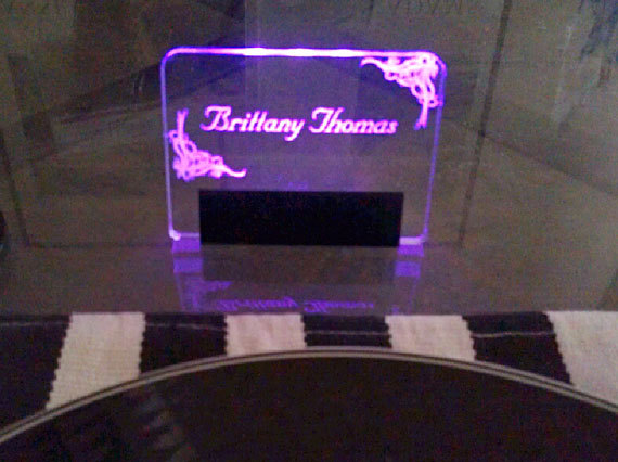 Acrylic illuminated place cards