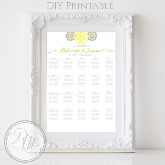 Grey and yellow printable seating chart - etsy.com
