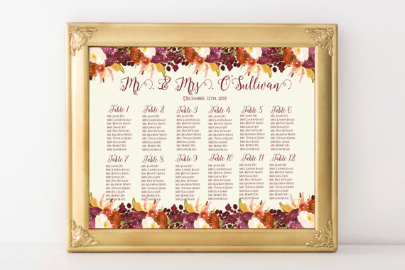 Cooper frame autumn themed seating chart - etsy.com