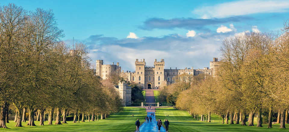 View of Windsor Castle along the Long Walk