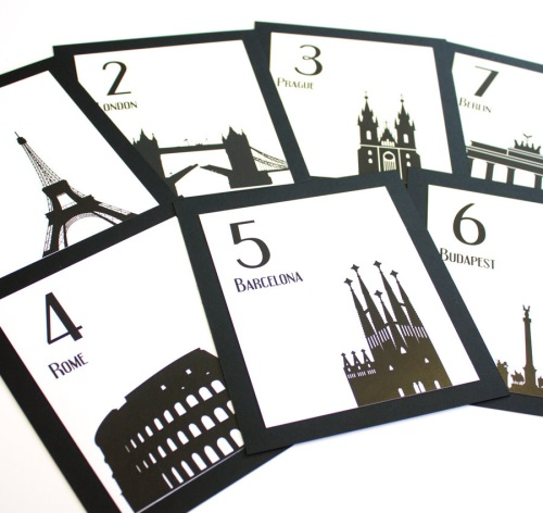 World Landmarks Table Numbers - etsy.com