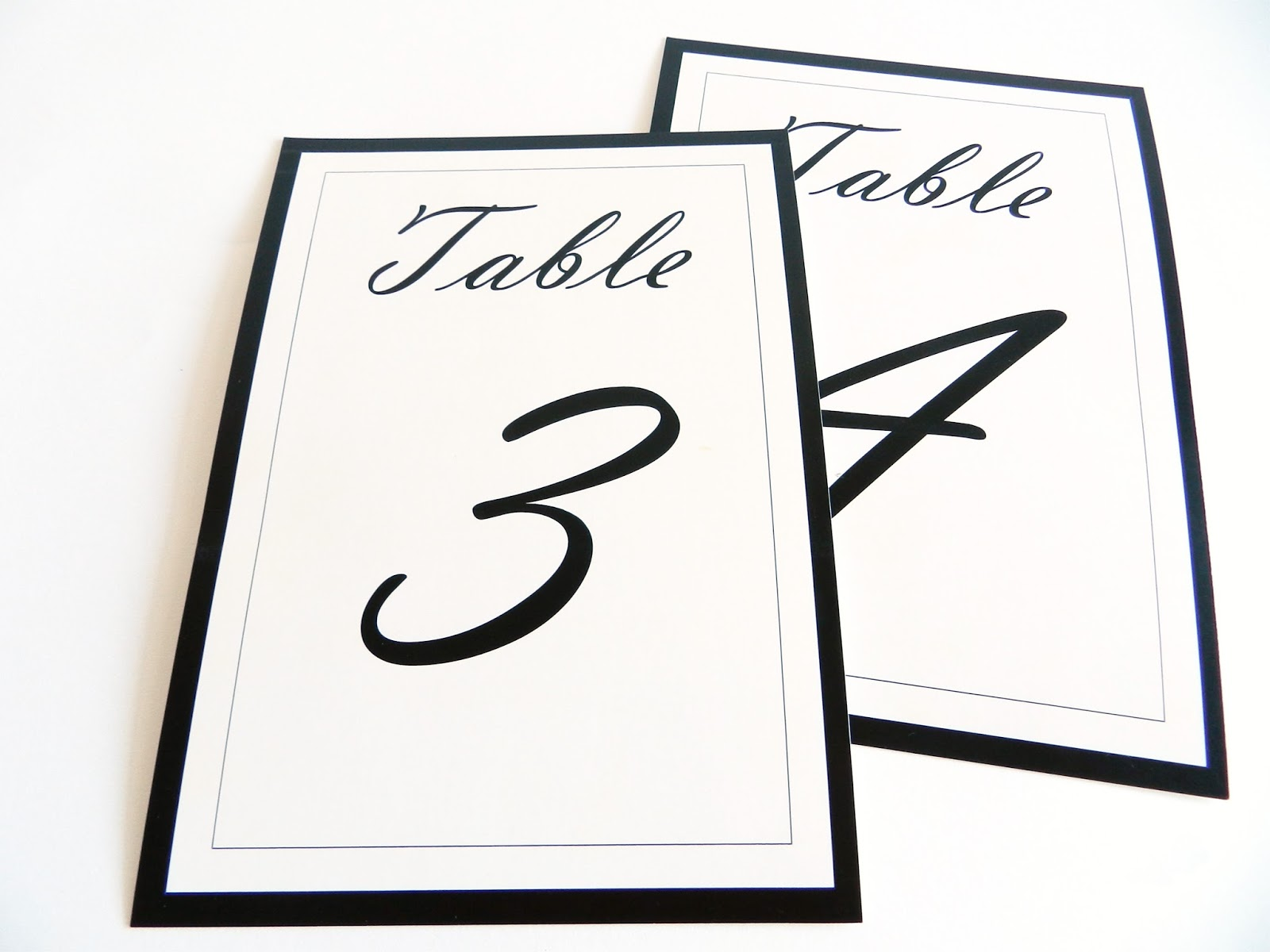 Calligraphy table numbers - Funky Box Studio