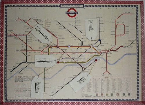 London Underground Map with Guest Names on Luggage Labels