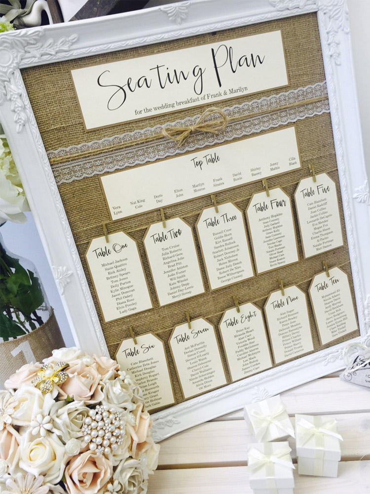 Mirror and frame wedding seating plans for Frame plan