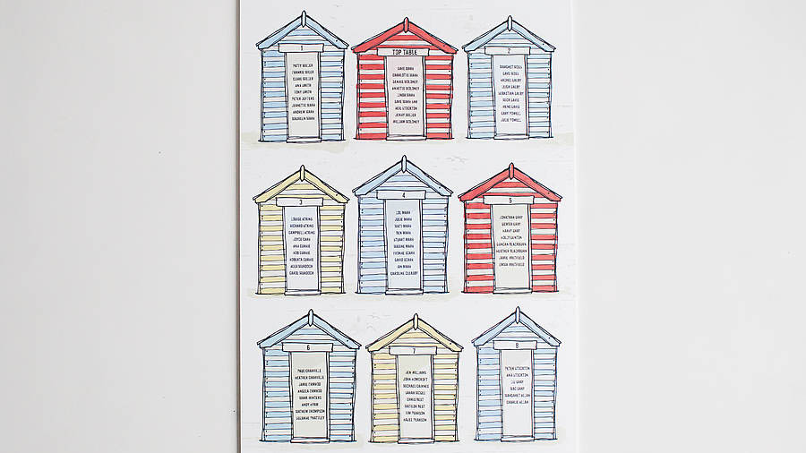 Beach hut wedding table plan - notonthehighstreet.com