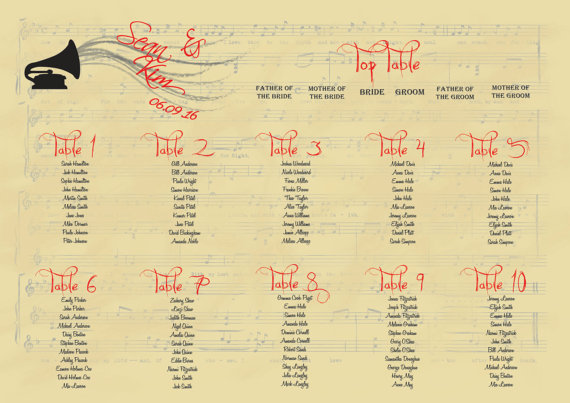 Classical music table plan