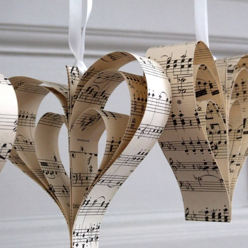 Handmade Vintage Music Heart Decoration - notonthehighstreet.com